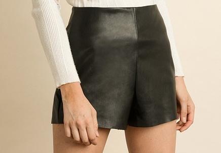 Amanda Vegan Leather Shorts