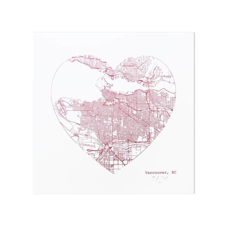 Vancouver Heart Map Print
