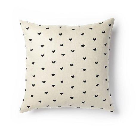 Mini Hearts Pillow -Black