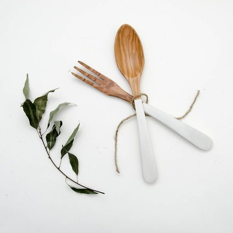 Salad Server Set L -White