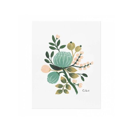 Blue Botanical Print 8x10