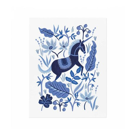 Sapphire Folk Print -11x14