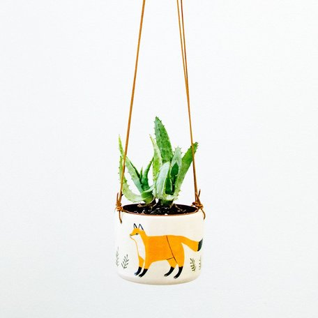 Fox Hanging Planter, hand painted