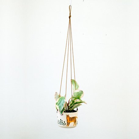 Tiger Hanging Planter, hand painted
