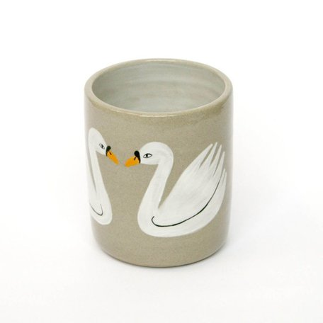 Swan Cup, hand painted