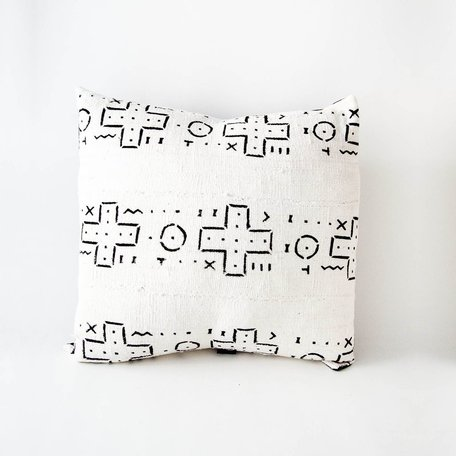 White Mudcloth Cushion -Mission