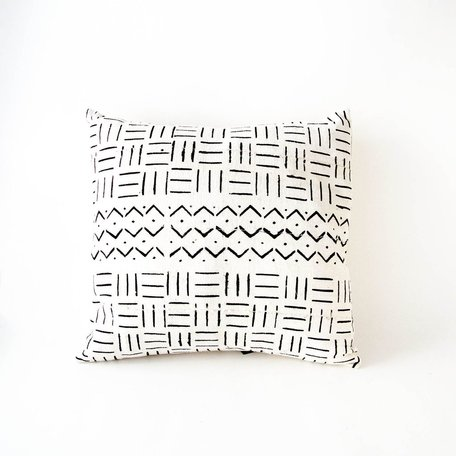 White Mudcloth Cushion -River