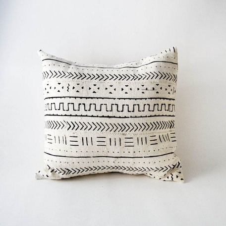 White Mudcloth Cushion -Harmony