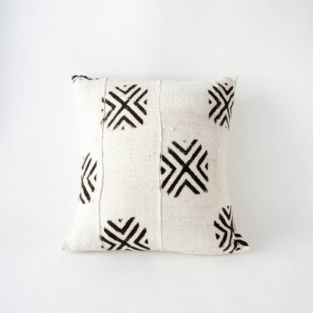 White Mudcloth Cushion -Crossroads