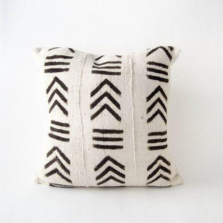 White Mudcloth Cushion -Rhythm