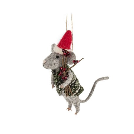 Mouse In Santa Hat & Sweater Ornament