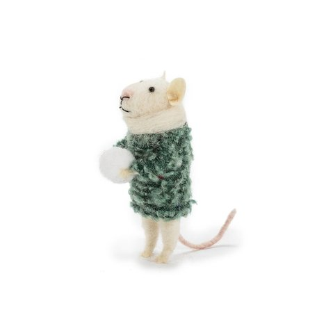 Standing Mouse with Snowball Ornament