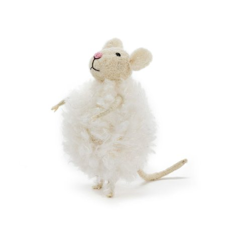 Fluffy Mouse In Snowball Ornament