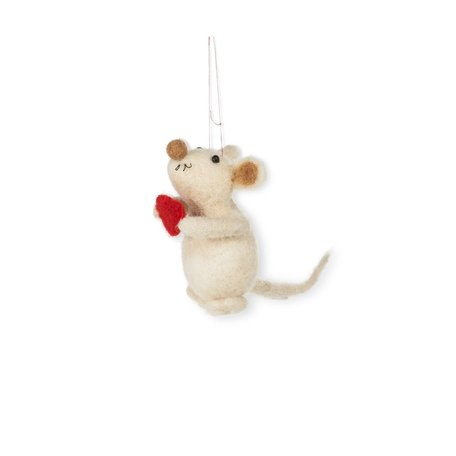 Mouse with Heart Ornament