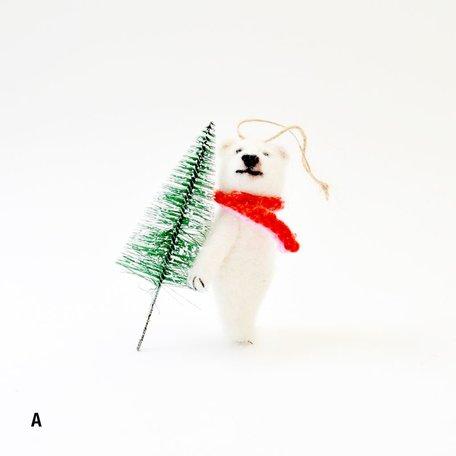 Merry Polar Bear Ornament -Assorted