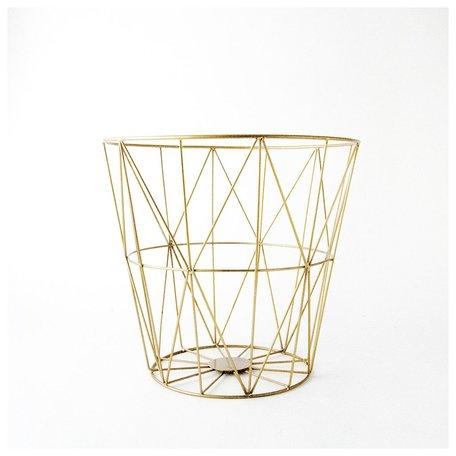 Brass Diamond Pattern Wire Basket -Medium