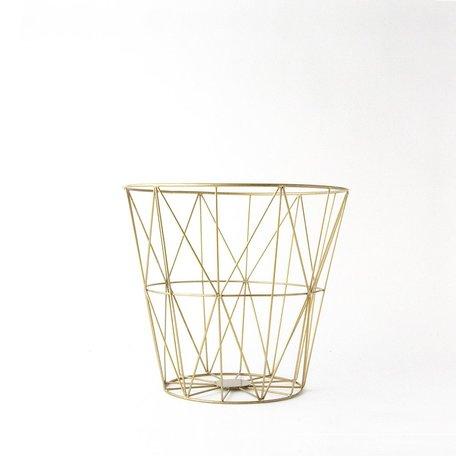 Brass Diamond Pattern Wire Basket -Small