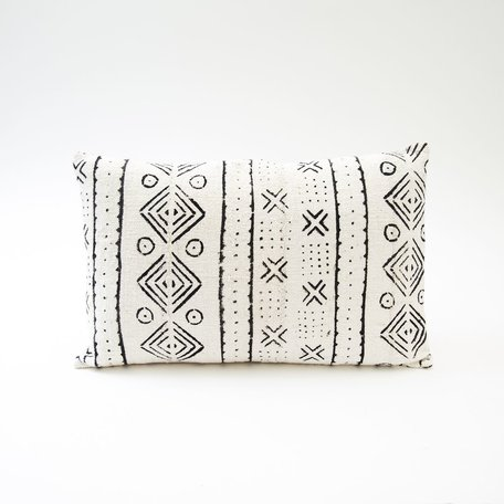 White Mudcloth Lumbar Cushion -Games