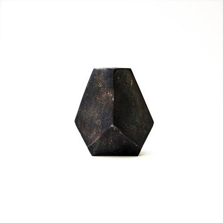 Noir Aristide Cast Geometric Vase -Small