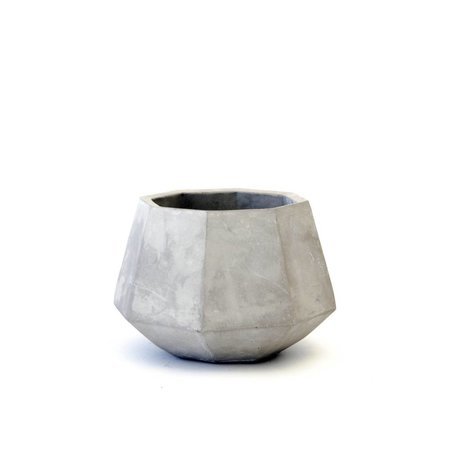 Facet Concrete Planter -Low
