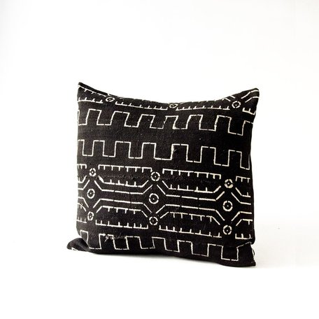 Black Mudcloth Cushion -Old World