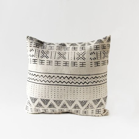 White Mudcloth Cushion -Chevron
