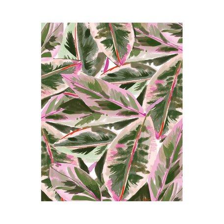 Pink Lush Leaf Print 8x10
