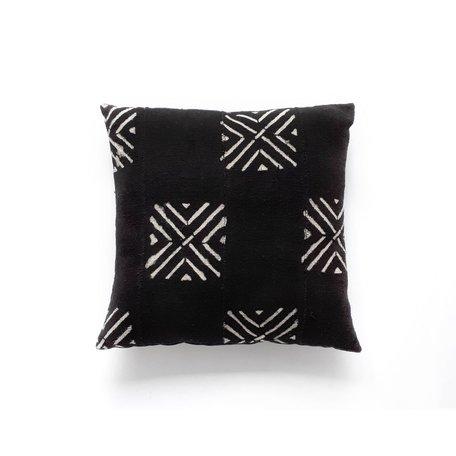 Black Mudcloth Cushion -Peaks
