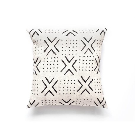 White Mudcloth Cushion -Passages