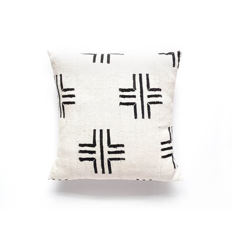 White Mudcloth Cushion -Compass