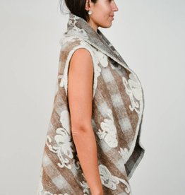 Look By M Floral Embossed Shawl Vest