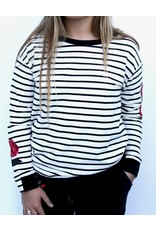 ESPRIT STRIPED EMBROIDERED SWEAT SHIRT