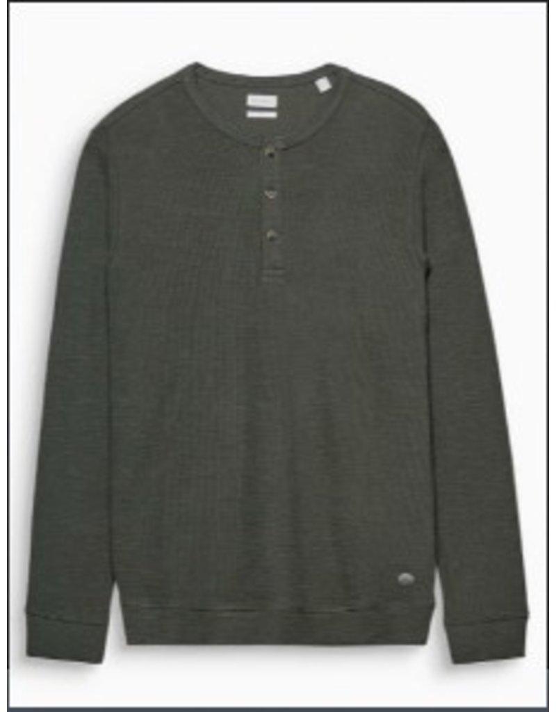 ESPRIT Ribbed slub jersey Henley, cotton