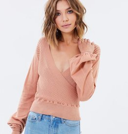 MINK PINK Laura Wrap Bell Sleeve Top