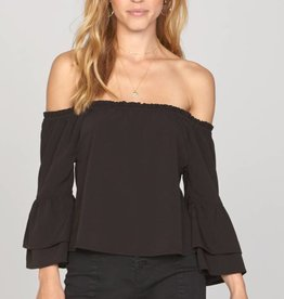 AMUSE SOCIETY CHAPELLE OFF THE SHOULDER WOVEN TOP