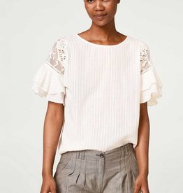 ESPRIT Textured blouse with tulle and crocheted lace