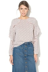 ESPRIT Blouse with frills and print