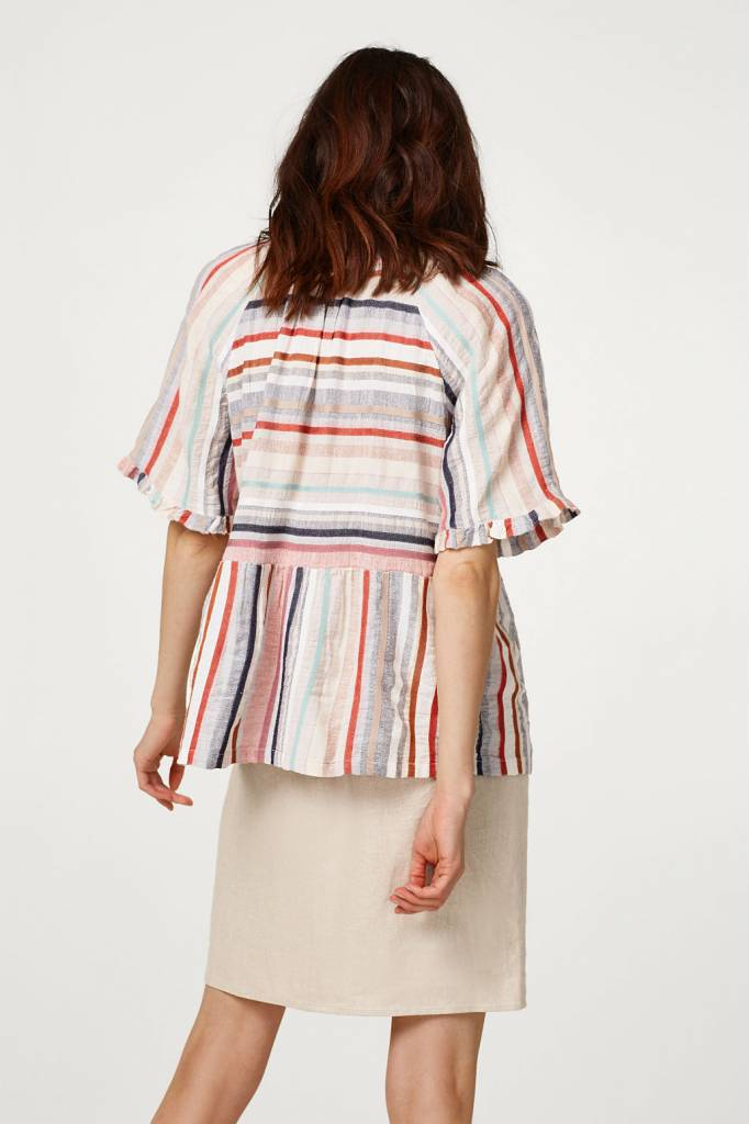 ESPRIT Airy blouse with multi-coloured stripes and frills