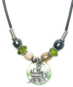 Train Disk w/ Glass Beads Necklace - asst. colors