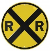 Round Railroad Crossing Sign