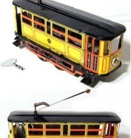 Yellow Electric Trolley Tin Toy