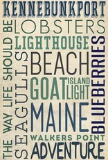 Kennebunkport Metal Key Chain - Typography