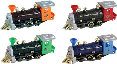 Pull Back Train -Die Cast Orange, Green, Blue, Red