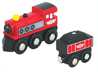 Li'l Chugs Red Steam Locomotive & Coal Tender