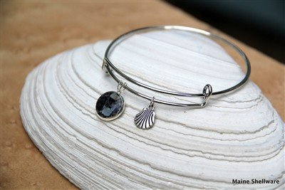 Silver Plated Charm Bangle Bracelet - Seashells