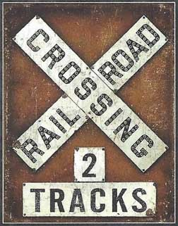 2 Tracks RR Crossing Sign