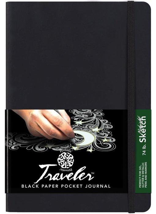 PENTALIC TRAVELER BLACK PAPER POCKET JOURNAL 6x8
