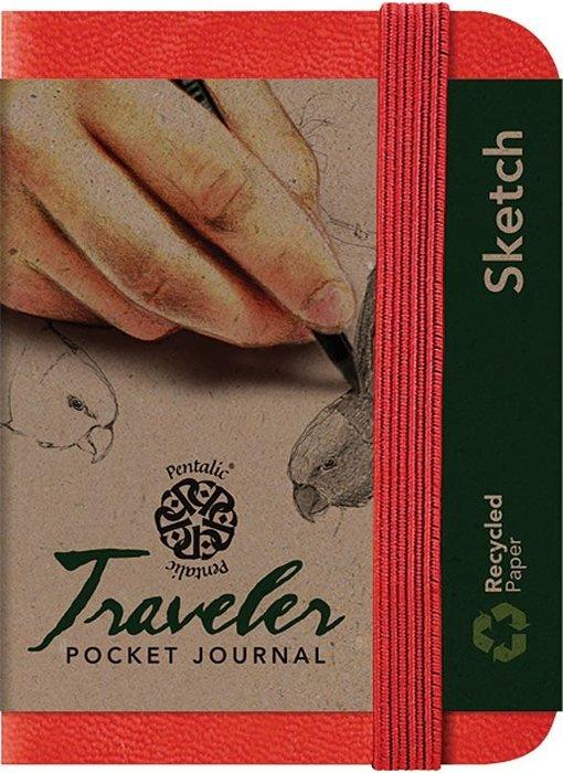 PENTALIC TRAVELER POCKET JOURNAL 3x4 RED