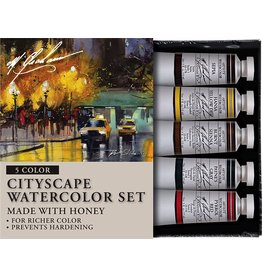 ART 5PK SET: CITYSCAPE WATERCLOUR
