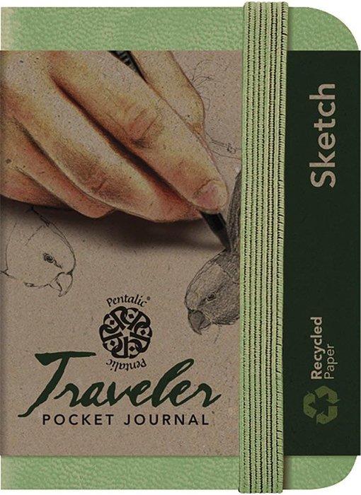 PENTALIC TRAVELER POCKET JOURNAL 3x4 OLIVE GREEN